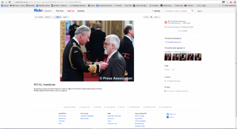 Receiving my medal from HRH The Prince of Wales (screenshot from The British Monarch website)
