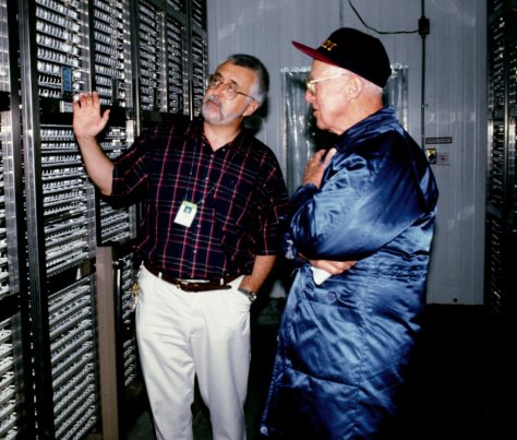 Explaining how rice seeds are stored in the International Rice Genebank to Nobel Laureate Norman Borlaug