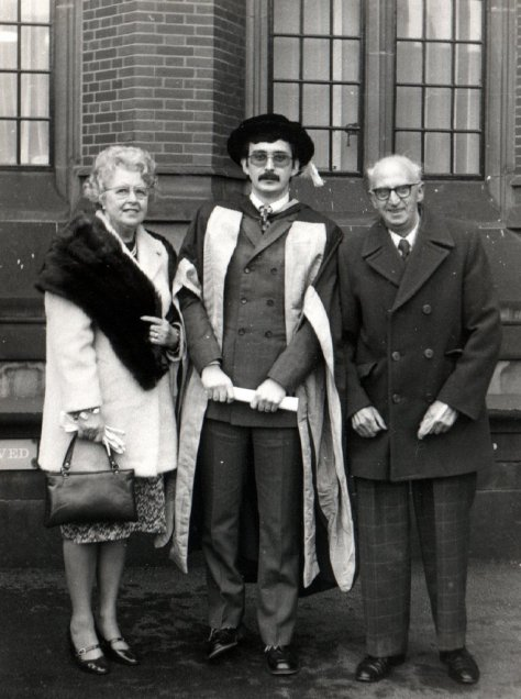 PhD congregation, 12 December 1975 - with Mum and Dad