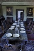 The dining room with 17th century Staffordshire salt ware on the table