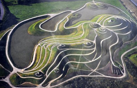 An aerial view of Northumberlandia, with her head on the right and feet on the left.