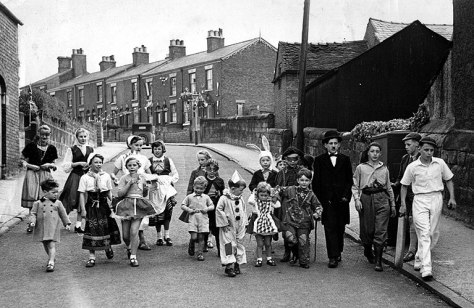 Coronation Day, 2 June 1953; at the bottom of Howey Lane.  Back Row L → R : Margaret Jackson; Jennifer Duncalfe; Josie Moulton; Meg Moulton; Susan Carter; Ed Jackson; Richard Barzdo; NK: Peter Duncalfe; NK; George Foster; David Hurst; Stephen Carter; Martin Jackson. Front Row L → R : NK; Carol Brennan; NK: Alan Brennan: Robert Barzdo; NK; Mike Jackson.