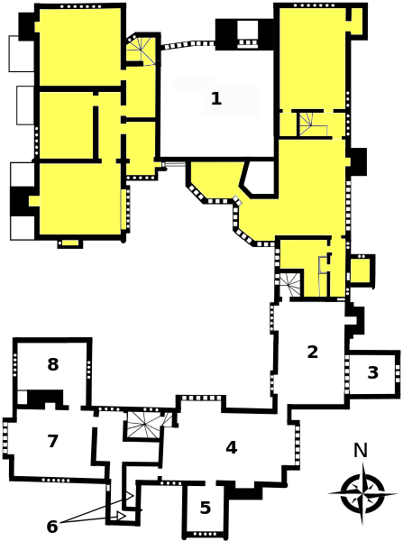 The first floor-plan (shaded areas not open). 1. Great Hall. 2. Prayer Room - now housing exhibits showing how the hall was constructed. 4. Guests' Hall. 5. Porch Room. 6. Garderobe and privy. 7. Guests' Parlour. 8. Brewhouse Chamber.