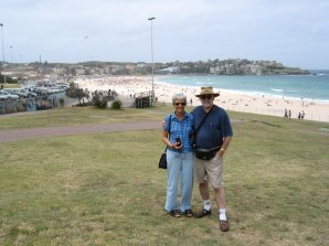 Just off the plane - at Bondi Beach