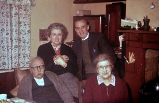 Mum and Dad with Dad's parents at Ebenezer Cottage, Hollington