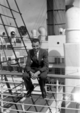 Dad on board the RMS Aquitania