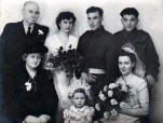 The wedding of Bridie and Hal Lee Jacobs in September 1943. After the war they moved back to Canada. Ann is the bridesmaid