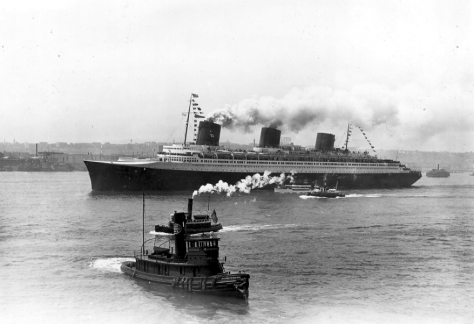 SS Normandie steaming into New York