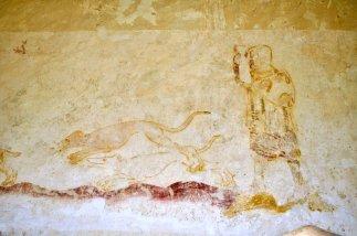 A hunting scene above the chapel door