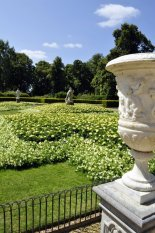 A fine example of the many flower beds, statuary and garden furniture found all around the Waddesdon park