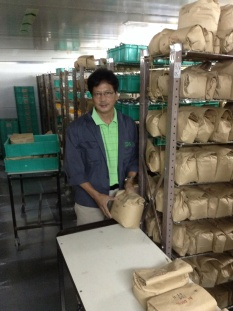 Mel - handling seeds in the seed drying room, maintained at 15C and 15% RH