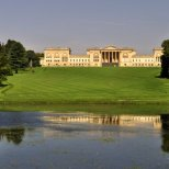 The view from in front of the East Lake Pavilion across the Octagon Lake to Stowe House