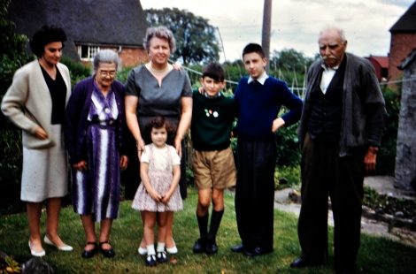 Rebecca (my Dad's younger sister, and mother of Angela),Grandma, my Mum, cousin Angela, me, Edgar, Grandad - about 1961.