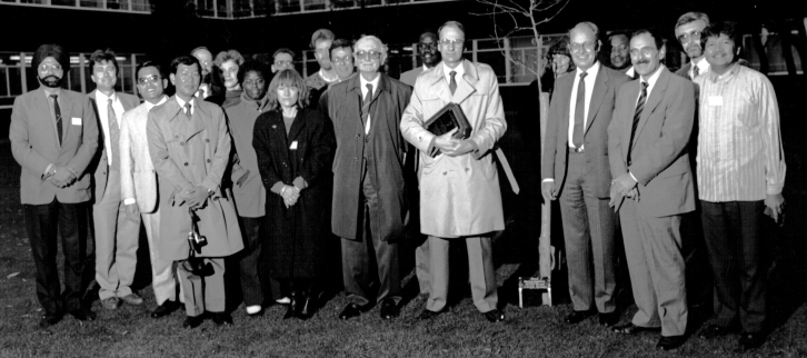 Professors Jack Hawkes and Jim Callow in the center of the photograph.