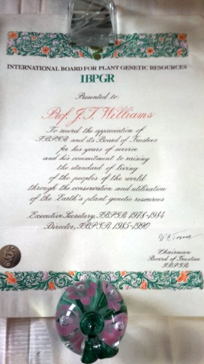 Certificate of Appreciation from IBPGR Board when Trevor stepped down in 1990