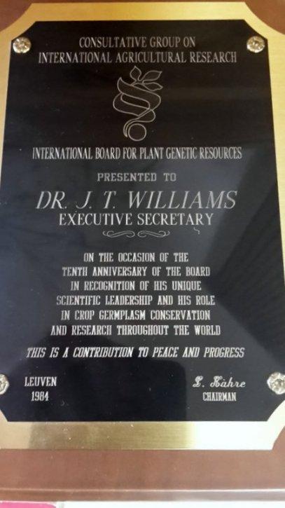 IBPGR 10th anniversary plaque