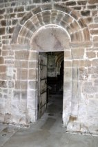 Looking through to the nave from the 13th century tower.