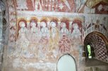 Six of the 12 apostles on the north wall of the chancel.