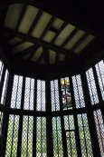 Bow window in the Great Hall with original Tudor stained glass.