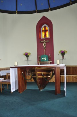 The boat under the altar, St Michael's Church, Eriskay