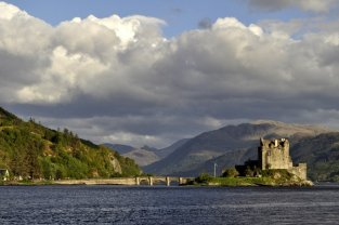 Eilean Donan castle in the late evening sunshine