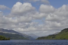 Looking north on Loch Lomond near Inverbeg towards the mountains near Glencoe