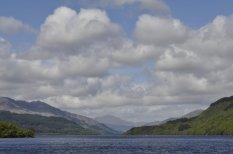 Looking north on Loch Lomond near Inverbeg towards the mountains near Glencoe