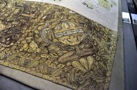 Detail from an embroidered table carpet from the 16th century.