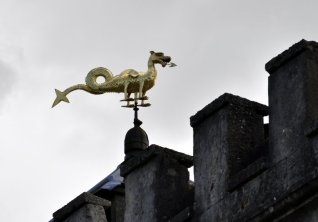 The Golden Dragon weather vane.