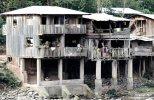 Houses along the Rio Pichis near Puerto Bermudez.