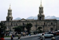 Arequipa's cathedral with El Misti in the background.