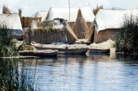 An Uro people's village on a totora reed floating island on Lake Titicaca.