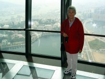 Steph at the Macau Tower observation deck.