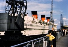 The distinctive three funnels of RMS Queen Mary.