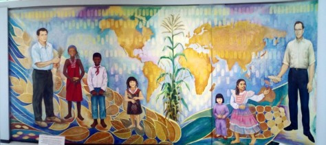 Mural of Anderson and Wellhausen inside the genebank.