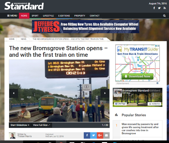 Bromsgrove station opens