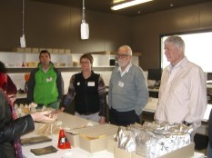 Sally tells us about seed drying. Me with Dave Ellis from CIP on my left.