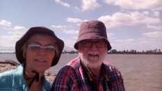 That's the Ohio River behind us and the bridge between Kentucky and Illinois . . .