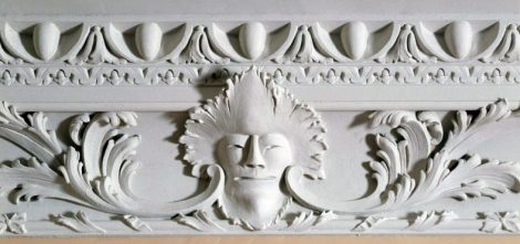 Close up of the plaster detail on the cornice at Florence Court in the Drawing Room. It is one of two masks that depict Comedy and Tragedy.
