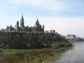 Parliament Hill from the banks of the Ottawa River