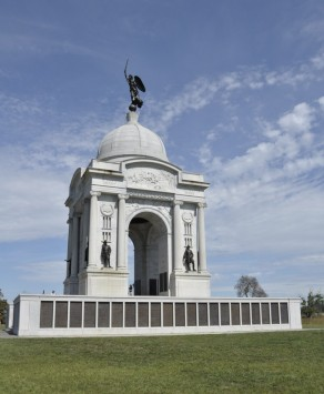 Pennsylvania Monument, the largest on the battlefield, recording the names of every soldier who served at Gettysburg