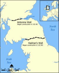 Location of Hadrian's Wall and the Antonine Wall