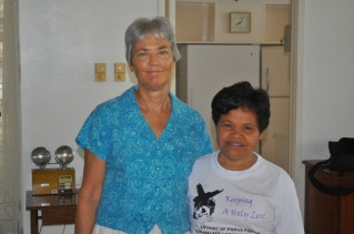 Steph and Lilia on our last day at Staff Housing in April 2010
