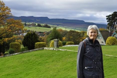 The Simonside Hills from Cragside's ornamental garden