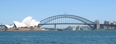 The Sydney Harbour Bridge and Opera House from Mrs Macquarie's Point